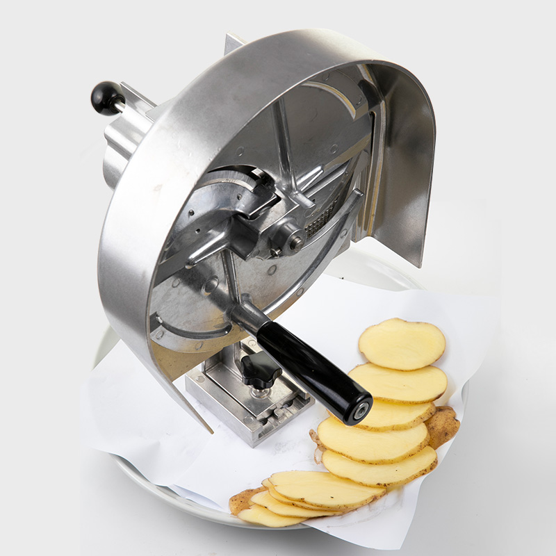 adjustable vegetable slicer cutting potatos